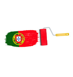 brush stroke with portugal national flag isolated vector image