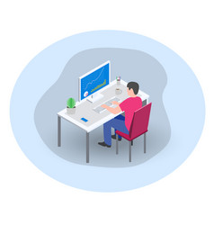 businessman manager marketer working at computer vector image