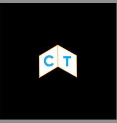 C t joint letter logo object design vector