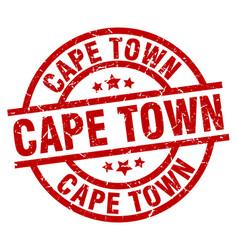 Cape town red round grunge stamp vector