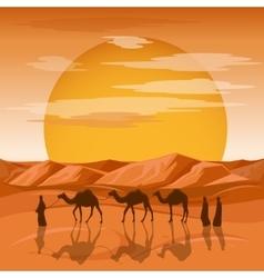 Caravan in desert background Arab people vector