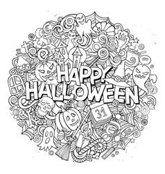 Cartoon cute doodles Halloween inscription vector image