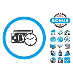 Cash Credit Flat Icon with Bonus vector image