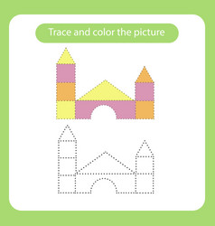 castle out blocks toy with simple shapes trace vector image