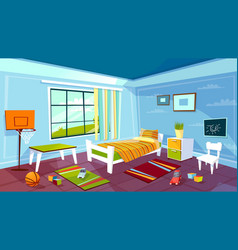 Child room cartoon of kid boy vector