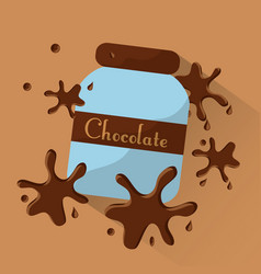 chocolate jar food splashes poster dessert vector image