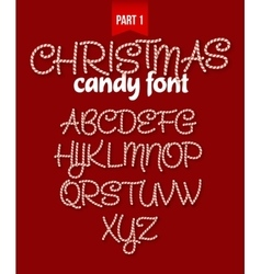 Christmas Candy cane alphabet vector image