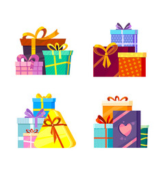 christmas gifts collection new year 2019 vector image