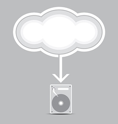 Cloud computing into harddrive vector