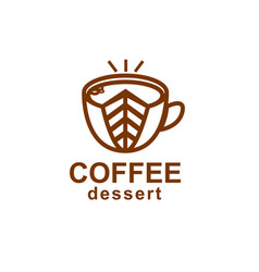 coffee and dessert icon linear stylish logo for vector image
