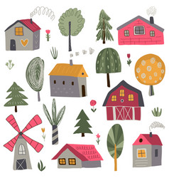 collection cute hand drawn country vector image