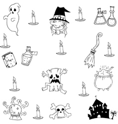 Collection Halloween witch castle in doodle vector
