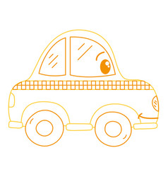 Color line kawaii happy taxi car transport vector