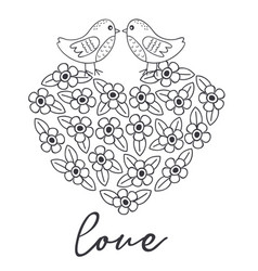 coloring with birds on heart of the flowers vector image