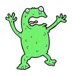 Comic cartoon frightened frog vector