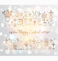 Easter greeting card with easter doodles on white vector