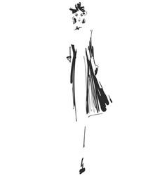 fashion models sketch cartoon girl vector image
