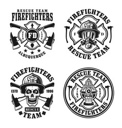 firefighters set four isolated emblems vector image
