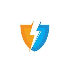 Flash thunder bolt shield vector