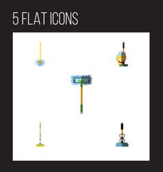 flat icon broomstick set of mop broom equipment vector image