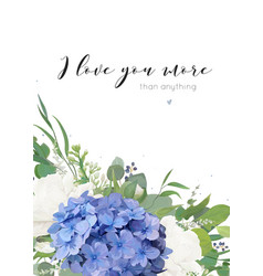 Floral greeting card design with hydrangea flowers vector