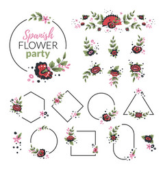 Flowers and frames set vector