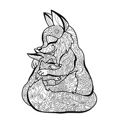 fox design for coloring pages vector image