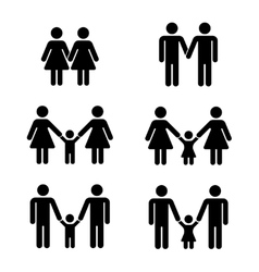 gay family icons over white vector image