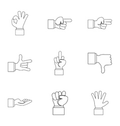 Gestural icons set outline style vector