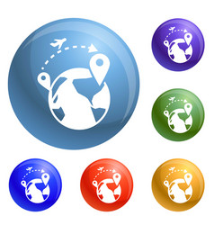 Global refugee migration icons set vector
