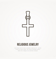 gold cross religious jewelry flat vector image