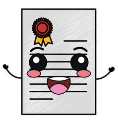 Graduation certificate kawaii character vector