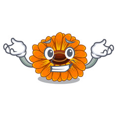 Grinning calendula flowers in a cartoon basket vector