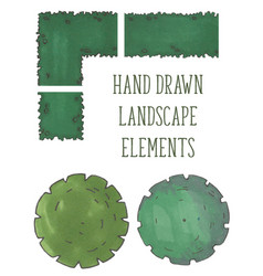 Hand drawn tree top trees and bushes vector