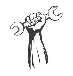 hand holding a wrench tools icon cartoon hand vector image