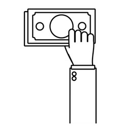 Hand holding money bill vector