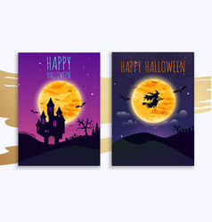 happy halloween banner flat design modern concept vector image