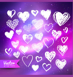 hearts on ultraviolet space background vector image vector image