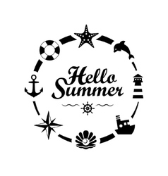 Hello Summer lettering on white background vector image