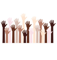 human hands fight against racism black lives vector image