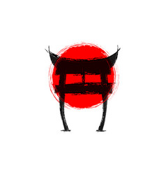 japanese gate torii shninto symbol and red flag vector image