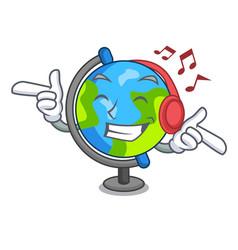 Listening music globe mascot cartoon style vector