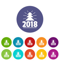 minimal christmas tree icons set color vector image