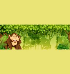moneky in jungle scene vector image