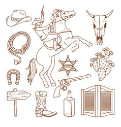 monochrome wild west icons collection vector image