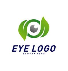 nature eye logo design concept eye with leaf vector image