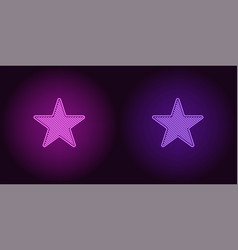 Neon icon of purple and violet star vector