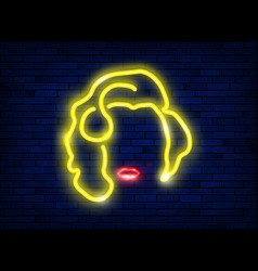 neon silhouette a beautiful sexy blonde marilyn vector image