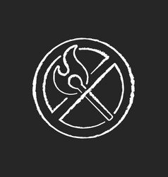 no open flame chalk white icon on black background vector image