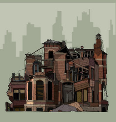 Painted ruins of a two story brick mansion vector